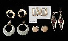 5 Pairs Gold Tone Earrings, Enamelled,1 Napier