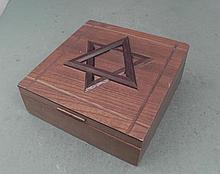 Judaic Wooden Music Box Jewelry Chest Vintage w/ Star