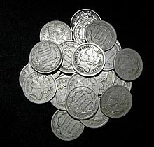 1865-1881 Lot of 25 Three Cent Nickels