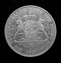 Germany One Silver Bavaria Thaler 1861 Uncirculated