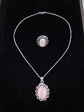 Rose Quartz 2 Pc Sterling Ring & Pendant Necklace Set