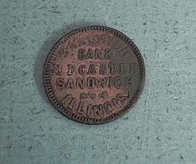 Civil War Store Card M.B. Castle Sandwich IL Bank
