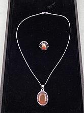 Red Onyx 2 Pc Sterling Ring & Pendant Necklace Set