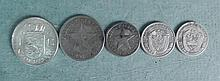 1 Lot of 5 Silver World Coins Some Uncirculated