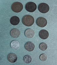 1 Lot of 16 Different Old European Coins