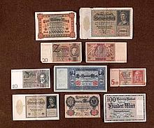 10 ORIG IMPERIAL GERMAN CURRENCY NOTES W/1 MILLION MARK