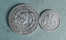2 Mexican Silver Coins Over 80 Years Apart