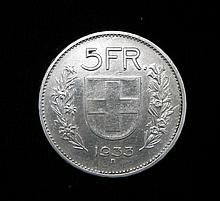 Switzerland 5 Silver Francs 1933 B-Uncirculated Scarce