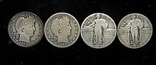 4 Different Type US Quarters Barber + Standing Liberty