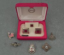 Enameled Cufflinks Set in Box & Pins Eagle, Flag, Horse