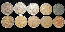 Lot of 10 Indian Cents 1881-1907 No Culls