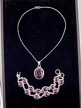 Amethyst 2 Pc Sterling Bracelet & Pendant Necklace Set