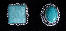 Turquoise German Silver 2 Ring Set