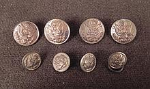 8 WWII US UNIFORM BUTTONS-MKD:WATERBURY BUTTON CO.-GILT