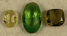 3 Green Peridot, Yellow Gemstones Oval, Pillow Cut