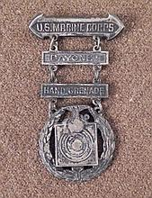 WWII USMC PROFICIENCY BADGES-BAYONET, HAND GRENADE