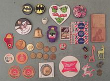 Misc Lot Vintage Pins, Political, Beer Milk Caps Tokens