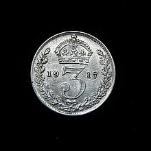 Great Britain 1917 Silver 3 Pence Unc.