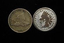 1858 Flying Eagle Cent + 1864 Indian Cent.