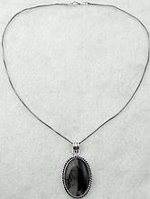 Sterling Black Cabochon Oval Pendant Necklace
