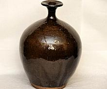 Japanese earthware studio vase with narrow neck