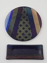 2 Diff Artist Signed Art Glass Pcs: Dish Plate & Tray