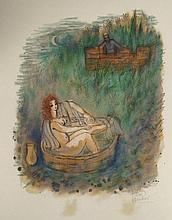 Reuven Rubin Signed Art Print David & Woman Bathing