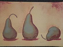 Artist Signed Proof Art Print Still Life w/ 3 Pears