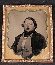 Antique Tintype Photo Heavyset Man w/ Beard, in Border