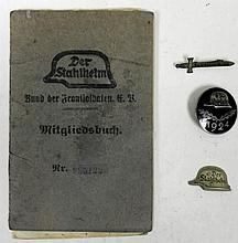 DER STAHLHELM GROUPING-BADGE, ID BOOK,PIN, DOCUMENTS