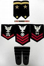 2 PR NAVAL SHOULDER BOARDS-3 NAVY RANK PATCHES