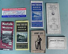 WWII ERA GUIDE TO PLANES-ARMY LIFE &4 WWII RR TIMETABLE