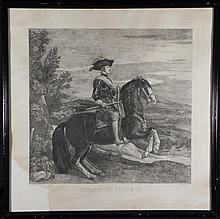 Retrato De Felipe IV Antique Etching Art Print Framed