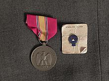 US NATIONAL DEFENSE MEDAL & SMALL 25 YR PIN-SS