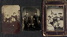 3 Antique Tintype Photographs Women Groups 1/6 Plt