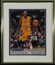 Lamar Odom Signed Lakers #7 NBA Photo Framed