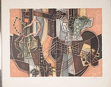 Artist Signed Proof Print Cubist Guitar, Hookah