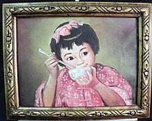 P.C. Chen Oil on Board Framed Signed Girl Eating Rice