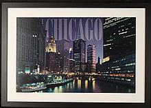 Chicago River Night Lights Photograph Framed