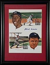 Hank Aaron 755 Signed Print w/ Babe Ruth Hirsh -Framed