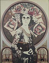 John Asquith Signed Art Print Rose Cascade 1920s + 60s