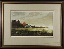 Jon Wills Orig Landscape Painting -Evening Fields Frmd