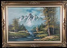 Cole Original Painting Mountain Landscape -Framed