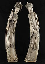 Large ivory statues of imperial couple