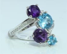 14K WHITE GOLD RING 5 GRAM  DIAMOND 0.17CT BLUE TOPAZ 3.30 CT APPROX AMETHYST 3.35CT