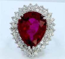 Natural Rubellite 15.18ct   Diamond 2.36ct