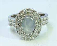 Natural Ceylon Star Sapphire 1.64 ct & Diamond 1.05 ct Ring 18Kt White Gold 6.64 gr
