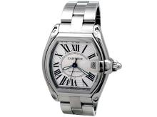Large Cartier Stainless Steel Roadster Watch. Silver Roman Numeral Dial. Stainless Steel Case. Stainless Steel Band. Style W62025V3.