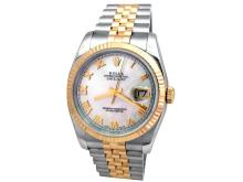 36mm Gents Rolex 18k Gold & Stainless Steel Oyster Perpetual Datejust Watch. Mother Of Pearl Roman Numeral Dial. 18k Yellow Gold Fluted Bezel. 18K Gold & Stainless Steel Jubilee Band. Style 116233.