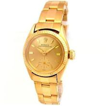 24mm Lady Rolex 18K Yellow Gold Oyster Perpetual Case with 14K Yellow Gold Band. Style 6509